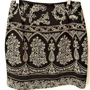 Lovely Abria Petite Black and Tan Wrap Skirt